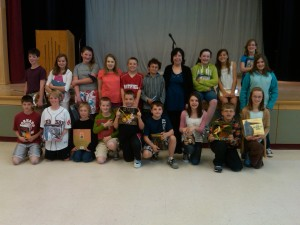 Picture of the winners of the 21st Jane Yolen Writing Contest at Hatfield Elementary School, May 2011.