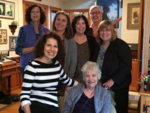 In front from left, Leslea Newman and Patricia MacLachlan. Standing in back from left Ann Turner, Corinne Demas, me, Ellen Wittlinger Barbara Diamond Goldin.